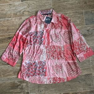 NWT Annabelle Pink Collared Printed Top, XL